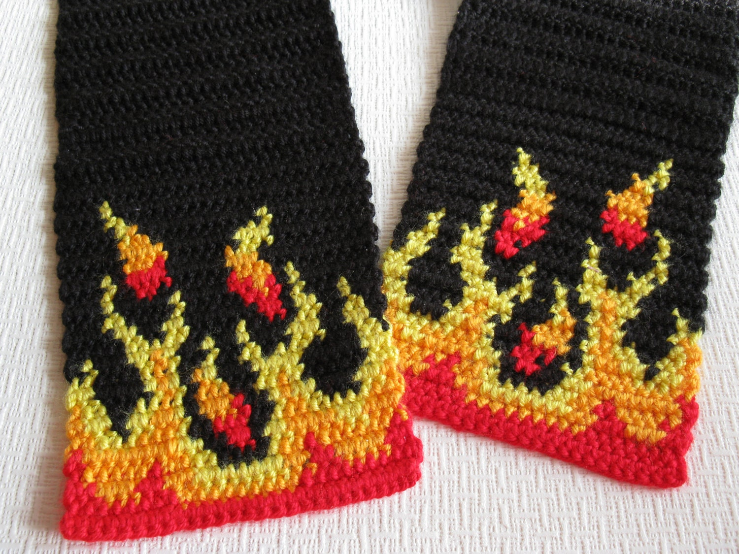 mens black scarf with yellow orange and red flames