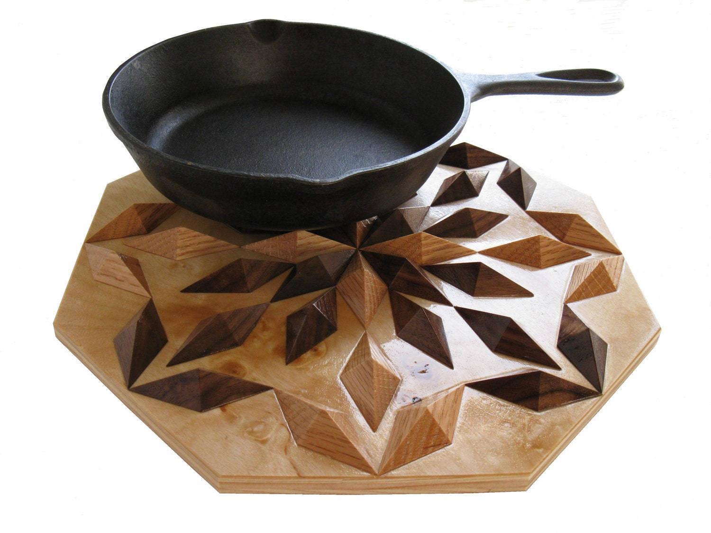 Wood Centerpiece Hot Pad 3 D Wooden Trivet Woodwork