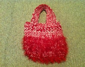 Red and White Fur Small Tote