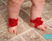 Red baby barefoot sandals