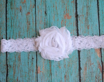 White Chiffon Lace Elastic Headband -Newborn/Infant/Toddler/Adult