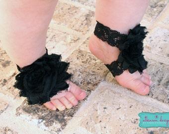 Black Baby Barefoot Sandals
