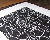 SALE! Mid-Century Modern Chair Print Linocut Block Print 8x10 - Eames Herman Miller MCM