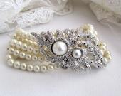 Bridal bracelet, bridesmaids bracelet, Bridal Victorian pearl ribbon crystal bracelet, bridesmaids jewelry.