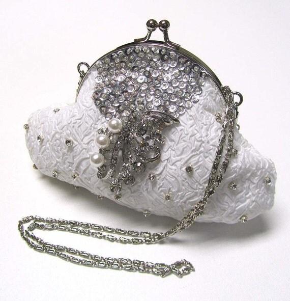 Bridal evening bag clutch, bridal clutch, bridesmaids evening bag, Swarovski crystal French Couture Victorian clutch