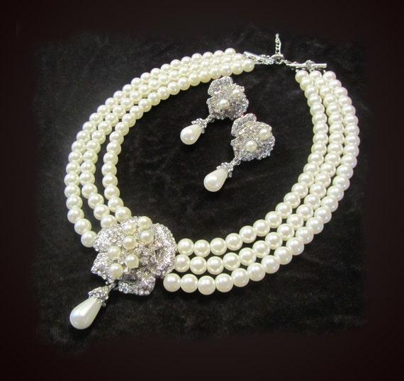 Wedding jewelry, Bridal necklace, Victorian pearl,Swarovski rhinestone necklace earrings set, bridal jewelry set.