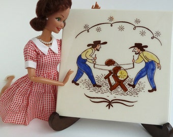 square ceramic tile trivet, Pennsylvania Dutch woodsmen
