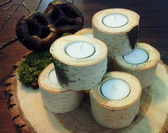 TREASURY ITEM - 6 White Natural Birch Candleholders - Birch logs - Birch candles- Christmas candles - Wood candles - Holiday candles