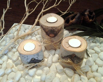 """3 White Birch Candle holders 3"""", 4"""", 5"""" , Rustic Weddings - Birch  - Birch candles - Tree branch candles - Holiday candles"""