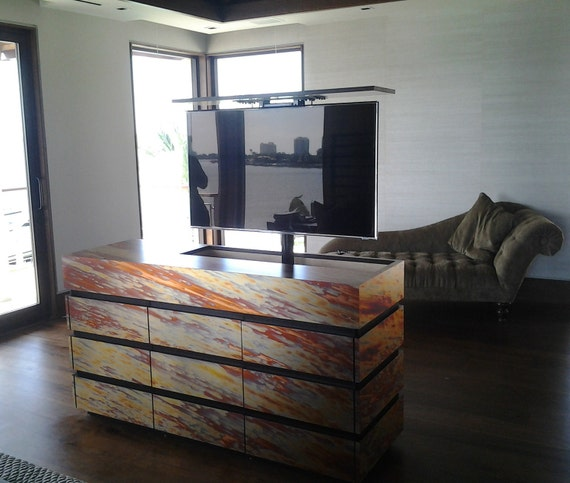 items similar to treasury item modern tv lift cabinet. Black Bedroom Furniture Sets. Home Design Ideas