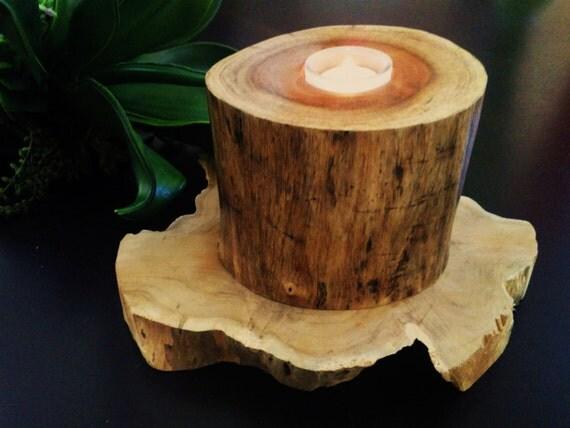 MODERN Hickory Round  Log Tea Light Candleholder (LARGE)