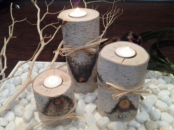 """TREASURY ITEM - 3  Natural Birch Candleholders - (4"""", 6"""", 8"""") Rustic Weddings- Centerpiece - Holiday candles - Christmas candles"""