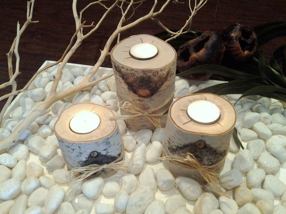 """TREASURY  ITEM - 3 Natural Birch Candleholders 3"""", 4"""", 5"""" , Rustic Weddings - Birch  - Birch candles - Tree branch candles - Holiday candles"""