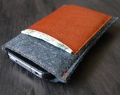 Charcoal Gray and Brown iPhone Case Wallet