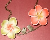 Birds on a Branch, Bird Necklace, Polymer Clay, Flower Necklace, Orange and Lemon, Citrus Necklace, Two Birds Necklace, Bird Jewelry