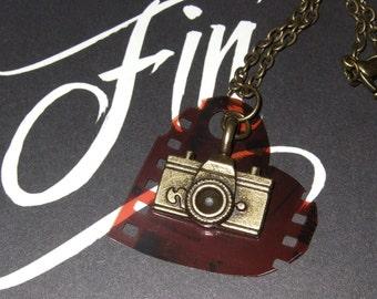 Camera Necklace, Photo Negative, Photographer Jewelry, Real Film Negative, Camera Pendant, Charm Jewelry, Vintage Film, Heart Necklace