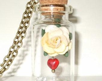 Bottle Necklace, Paper Rose, Cream Flower, Rose Necklace, Sleeping Beauty, Red Glass Heart, Romantic Gift, Paper Flower, Bottle Jewellery