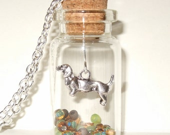 Dachshund Necklace, Bottle Pendant, Sausage Dog, Doxie Charm, Bottle Necklace, Green and Brown, Glass Bottle, Dog Necklace, Animal Jewelry