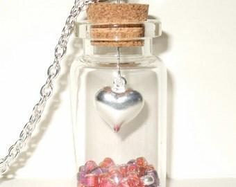 Heart Necklace, Bottle Pendant, Love Heart Jewelry, Heart in a Bottle, Valentine Jewelry, Love Token, Red Necklace, Glass Bottle, Love Heart