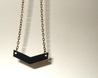 Geometric Necklace, Black Chevron, Arrow Jewelry, Chevron Necklace, Black Jewelry, Shrink Plastic, Black Arrow, Chevron Stripe, Zig Zag