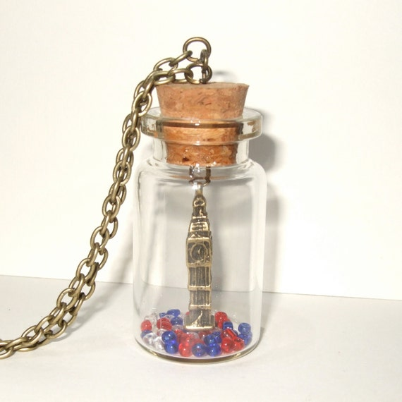Big Ben Necklace, Red White and Blue, England Jewelry, London Necklace, Big Ben Charm, Bottle Necklace, London Jewelry, London UK Souvenir