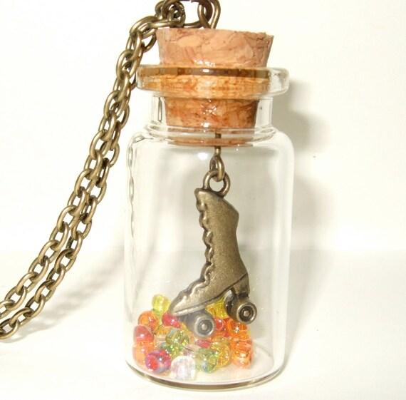 Roller Derby Necklace, Bronze Roller Boot Charm in a Bottle, Derby Bottle, Roller Disco, Roller Derby Pendant, Rollerskate, Bottle Necklace