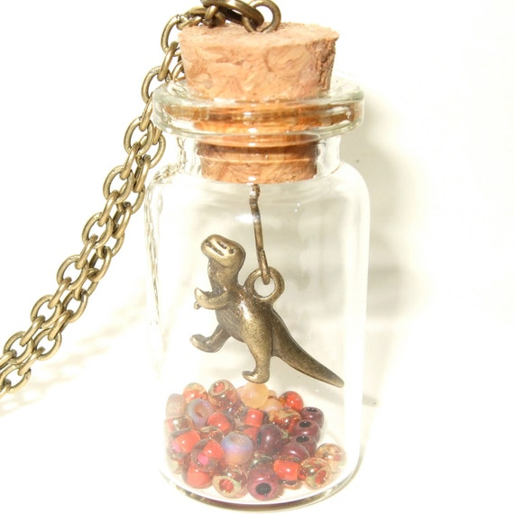 Dinosaur Necklace, Glass Bottle Pendant, Dinosaur Jewelry, Red and Brown, Mini Dinosaur, Prehistoric Necklace, Bronze Dinosaur Charm