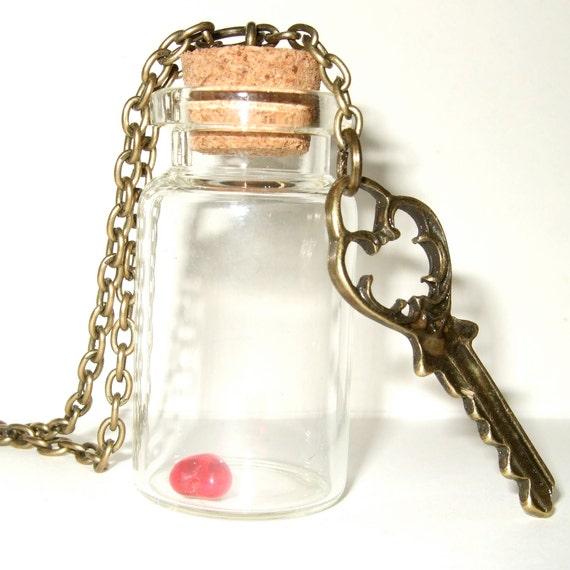 Key Bottle Necklace, Heart in a Bottle, Key to my Heart, Bottle Necklace, Key Pendant, Red Glass Heart, Bottle Jewelry, Red Heart Necklace