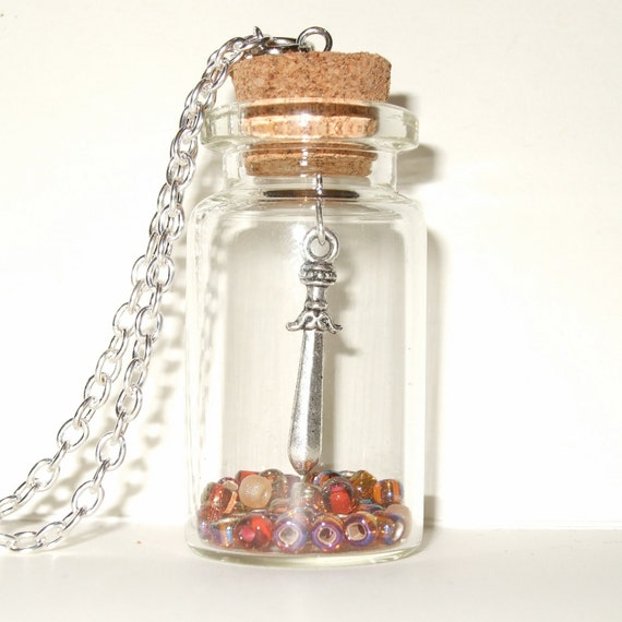 Dagger Necklace, Silver Sword Charm in a Bottle, Necklace with Amber Color Beads, Bottle Necklace with Dagger Charm, Quirky Bottle Pendant