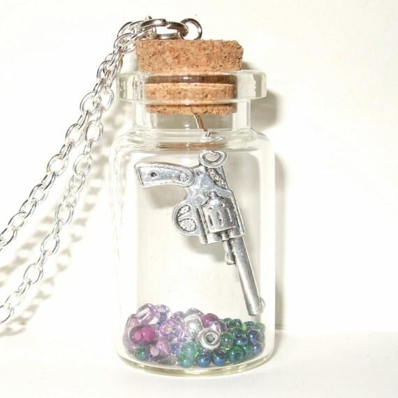Gun Bottle Necklace, Purple and Green, Bottle Pendant, Gun in a Bottle, Pistol Necklace, Silver Gun Charm, Gun Bottle Jewelry, Filled Bottle