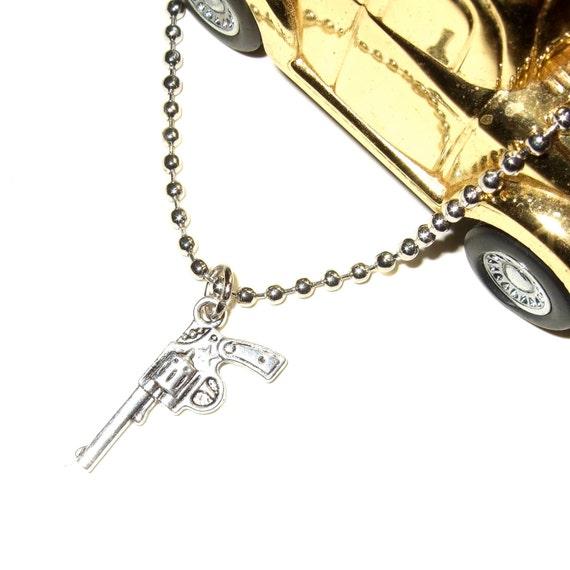 Revolver Necklace, Pistol Pendant, Gun Jewelry, Silver Gun Charm, Unisex Necklace, Steel Ball Chain, Men's Jewelry, Gun Necklace, Gun Charm