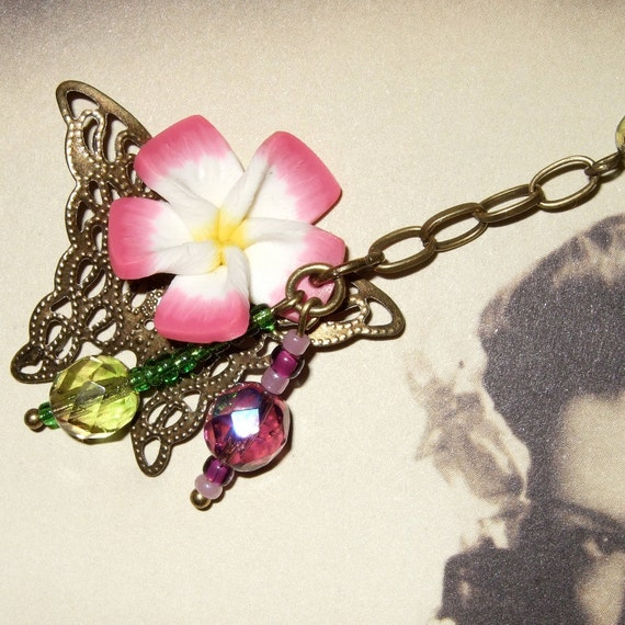 Polymer Clay Flower, Butterfly Necklace, Beaded Necklace, Y Drop Pendant, Flower Necklace, Pink Jewelry, Pink and Green, Filigree Butterfly