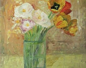 "Original oil still life Giclee print, 12"" x 16"", ""Tulips In glass"" red pink yellow"