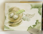 """Watercolour painting, Easter Painting (size 7"""" x 5"""") Eggs in nest"""