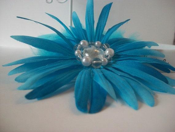 Burlesque Hair Clip, Blue Daisy, Blue Feathers, Pearls, Stone
