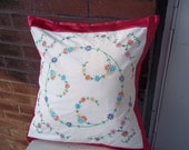 Embroidered Quilt Block Pillow Cover Vintage 18 Inch Square 18 X 18