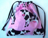 Gift Bag Black and White Cows on Pink Upcycled 6 X 6 Inches Reusable