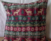 Christmas Pillow Cover Moose Snowflakes Upcycled 16 Inch Square