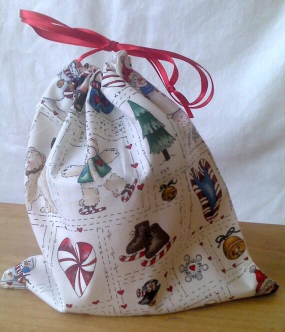 """Christmas Drawstring Gift Bag Upcycled 9 1/2"""" X 9 1/2"""" Penguns Teddy Bears"""
