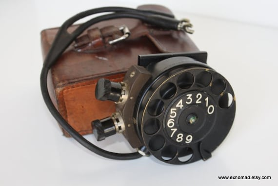 Antique Rotary Telephone with Leather case Military Portable Phone Collectible