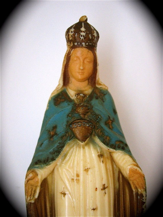 """Vintage Sacred Heart of MARY- Italian Statue- 6""""- very good vintage condition"""