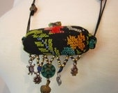Handmade Vintage Fabric Necklace Turtle and Heart Charms