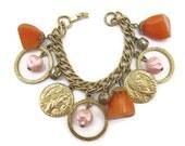 RESERVED FOR ROXANE Vintage Bracelet, Orange Lucite Bracelet, Faux Pearls and Coins, Gold Tone
