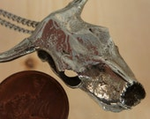 Bull Skull Pendant Necklace Cast in Metal and Polished