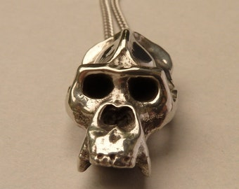 Gorilla Skull Necklace in polished Pewter