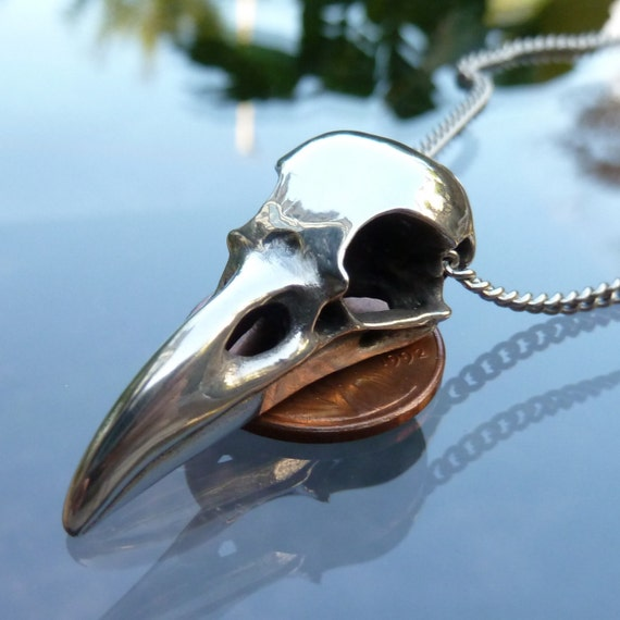 Raven Skull Pendant Necklace in Polished Silver Pewter on Stainless Steel Chain