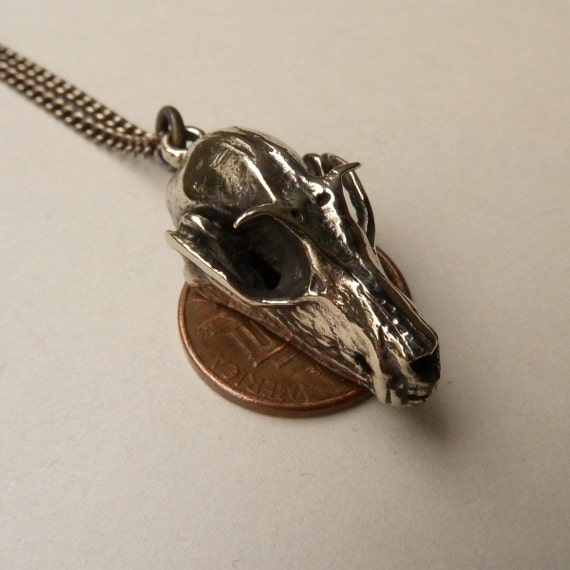 Megabat Bat Skull Pendant in Polished White Bronze