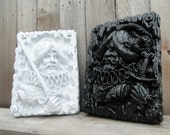Black and White decorative wall plaques, Conquistadors