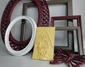 """Frame set collection shelf grouping gallery wall yellow purple gray white """"Welcome Garden II"""""""