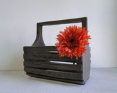 "Updated Painted distressed basket for picking flowes or veggies, yardwork, cute. ""Gatherer"""